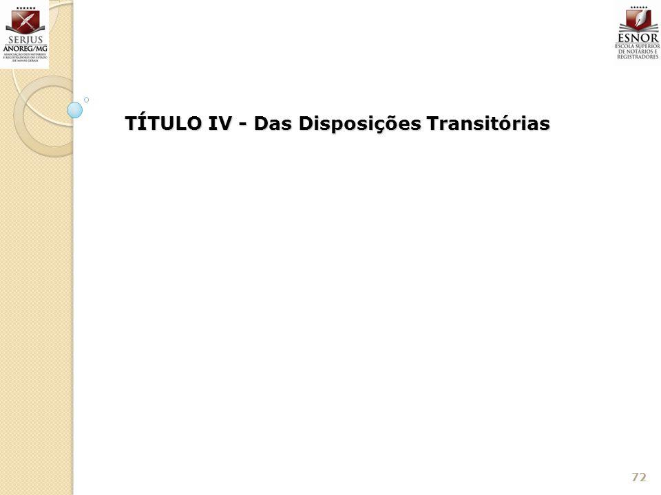 TÍTULO IV - Das Disposições Transitórias