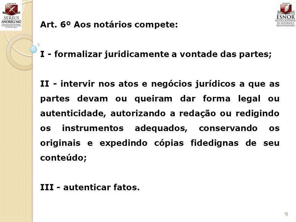 Art. 6º Aos notários compete: