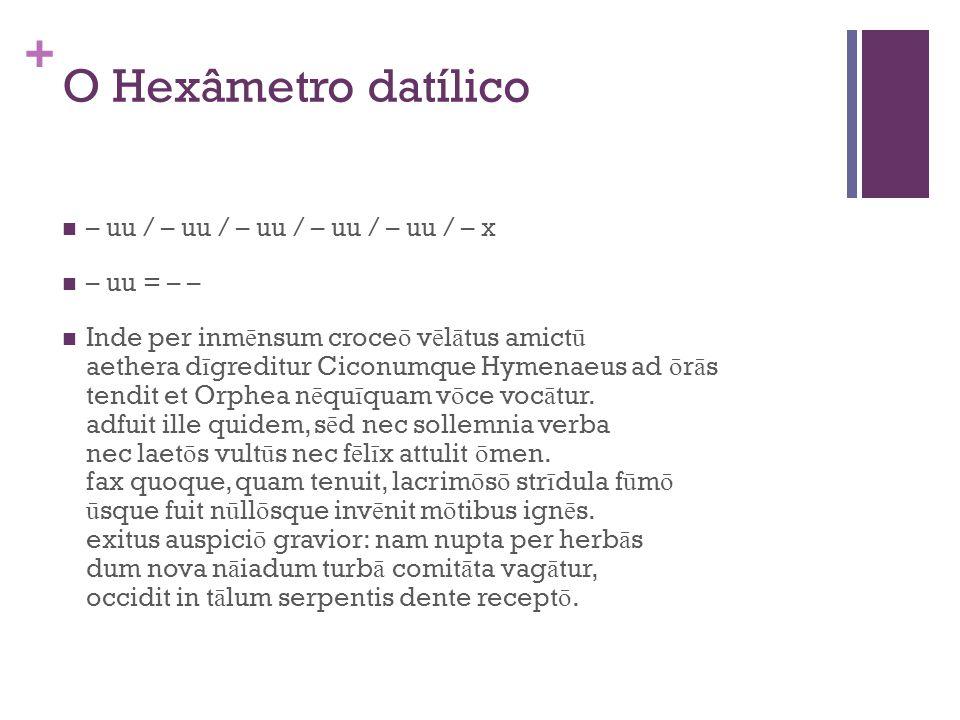 O Hexâmetro datílico – uu / – uu / – uu / – uu / – uu / – x – uu = – –