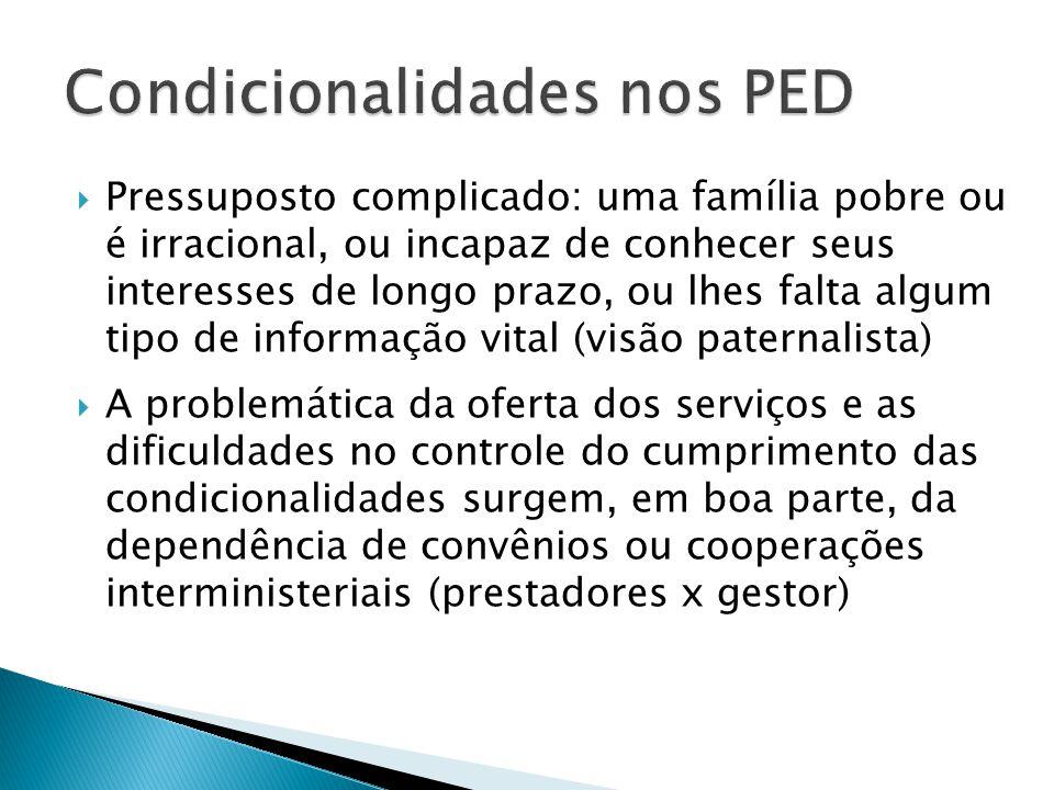 Condicionalidades nos PED