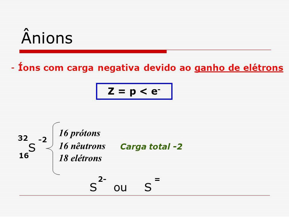 Ânions S S ou S Z = p < e- 16 prótons 16 nêutrons 18 elétrons