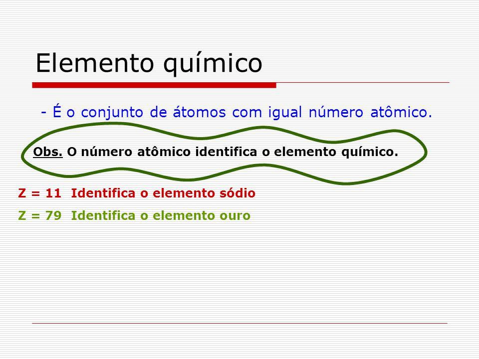 Elemento químico - É o conjunto de átomos com igual número atômico.