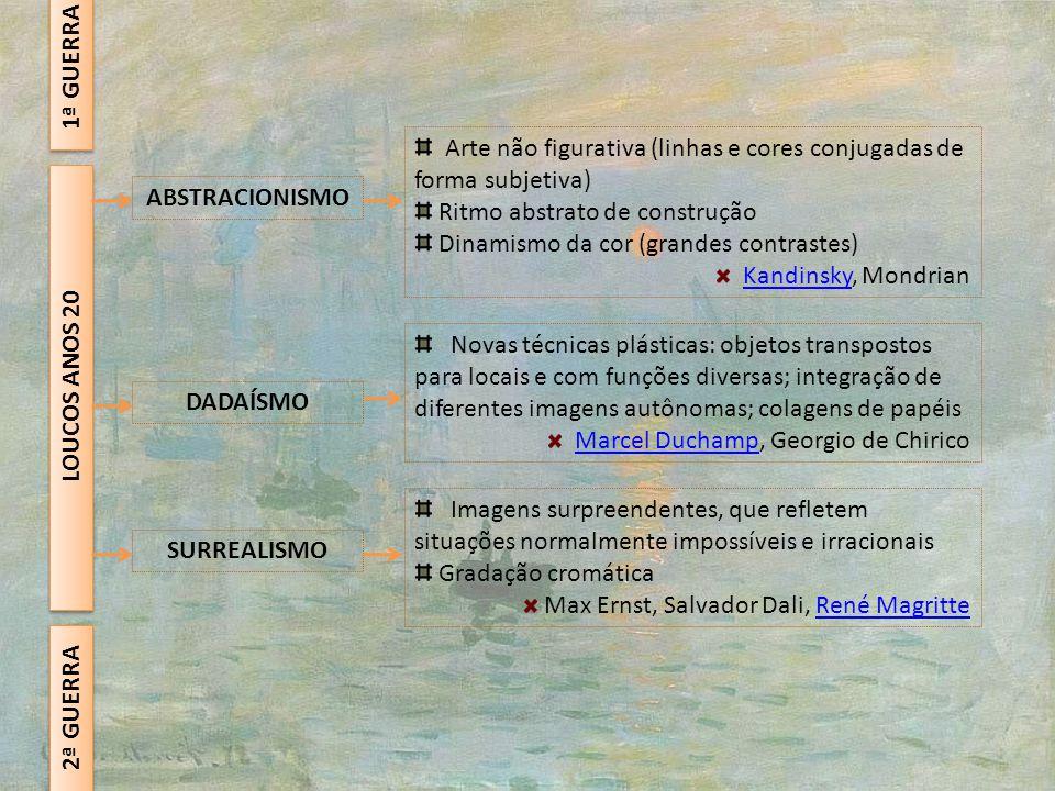 1ª GUERRA Arte não figurativa (linhas e cores conjugadas de forma subjetiva) Ritmo abstrato de construção.
