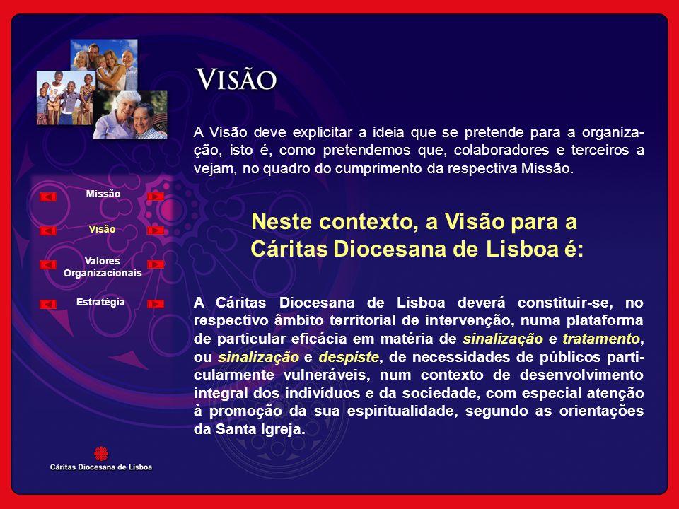Neste contexto, a Visão para a Cáritas Diocesana de Lisboa é: