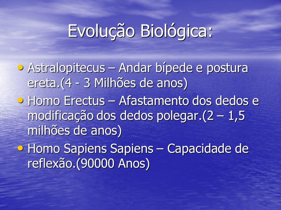 Evolução Biológica: Astralopitecus – Andar bípede e postura ereta.(4 - 3 Milhões de anos)