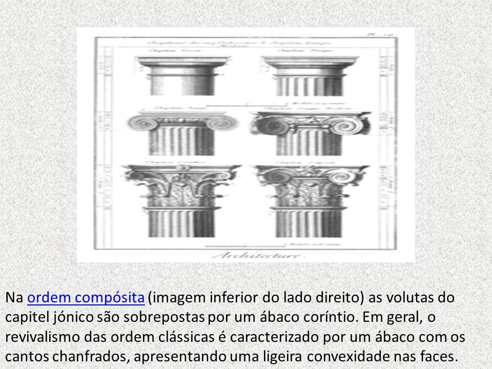 Na ordem compósita (imagem inferior do lado direito) as volutas do capitel jónico são sobrepostas por um ábaco coríntio.
