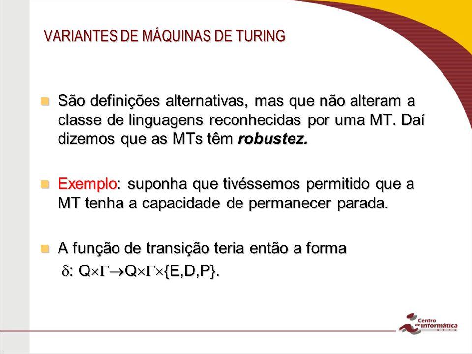 VARIANTES DE MÁQUINAS DE TURING