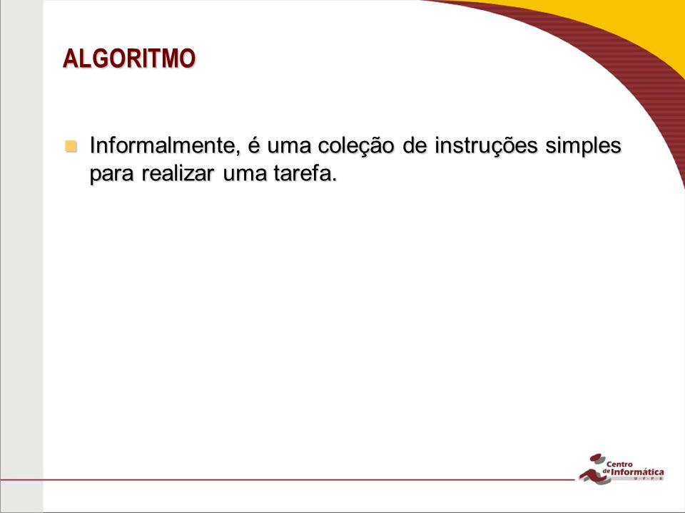 ALGORITMO Informalmente, é uma coleção de instruções simples para realizar uma tarefa.