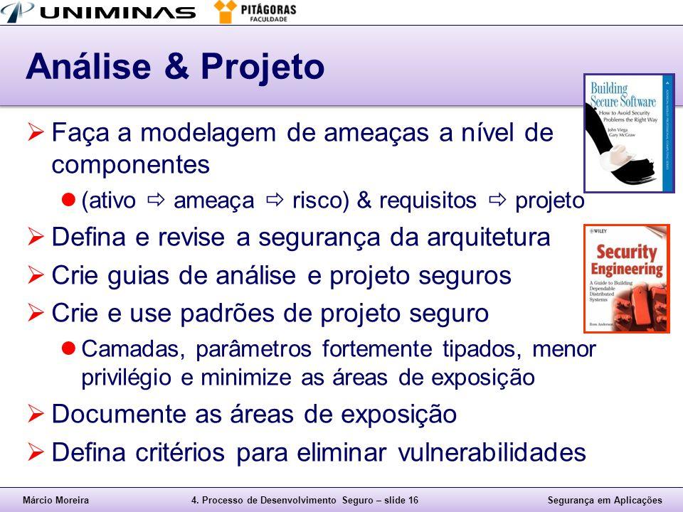 Análise & Projeto Faça a modelagem de ameaças a nível de componentes