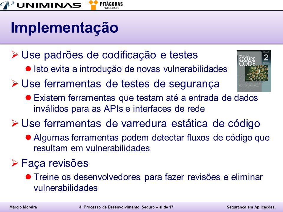 Implementação Use padrões de codificação e testes
