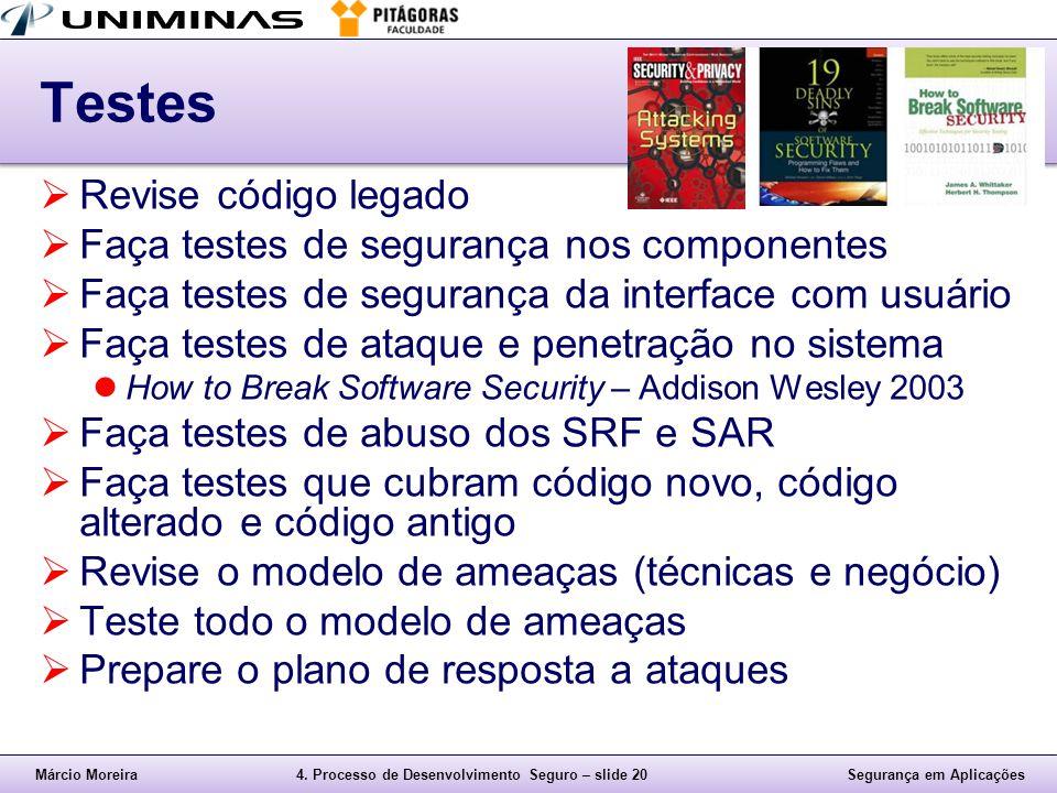 Testes Revise código legado Faça testes de segurança nos componentes