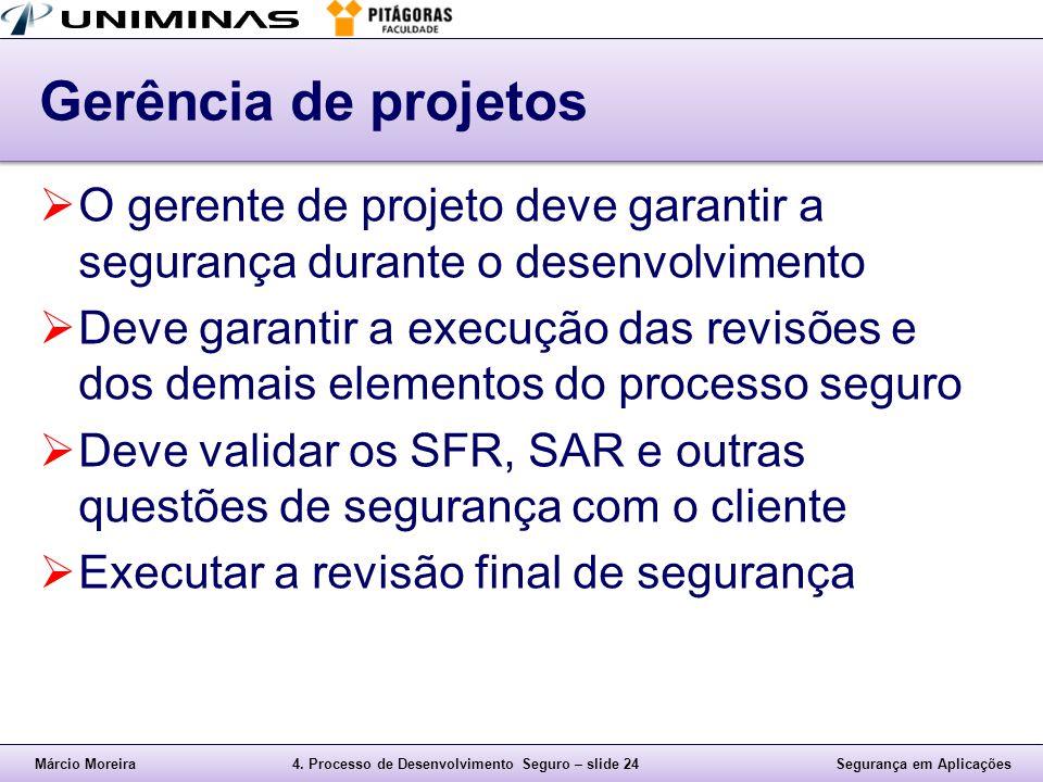 Gerência de projetos O gerente de projeto deve garantir a segurança durante o desenvolvimento.