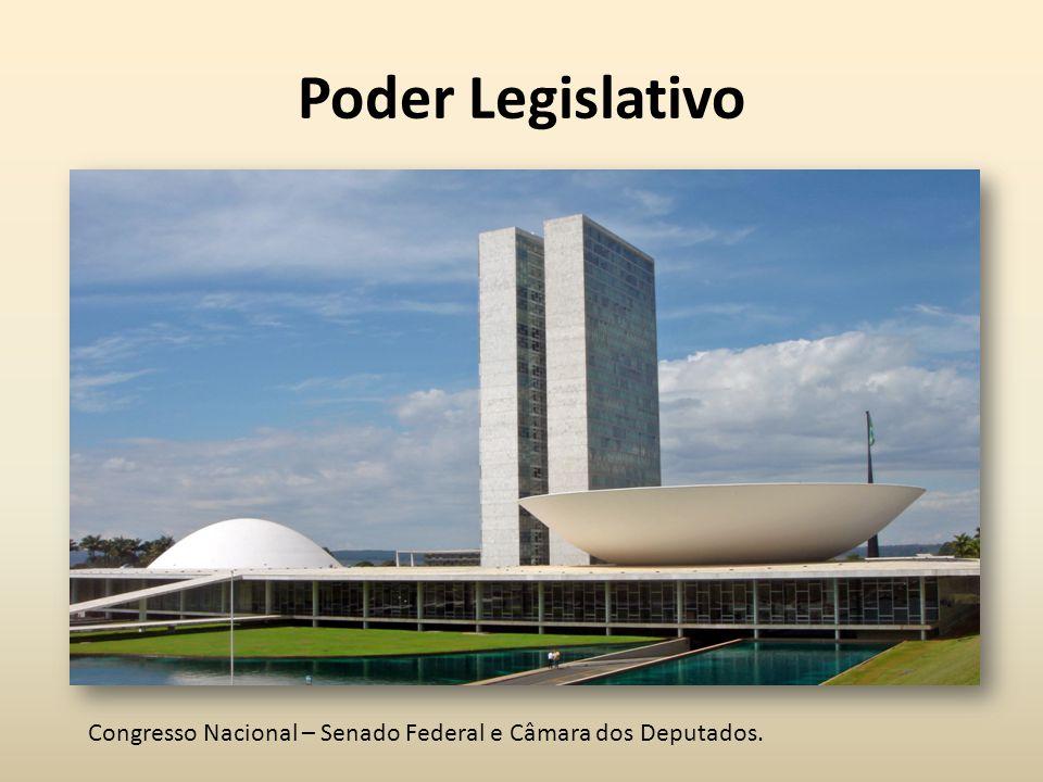 Poder Legislativo Congresso Nacional – Senado Federal e Câmara dos Deputados.