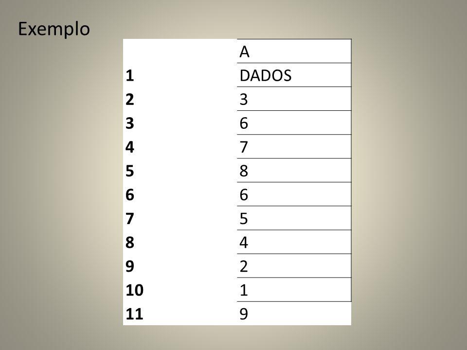 Exemplo A 1 DADOS 2 3 6 4 7 5 8 9 10 11