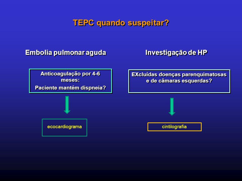 TEPC quando suspeitar Embolia pulmonar aguda Investigação de HP