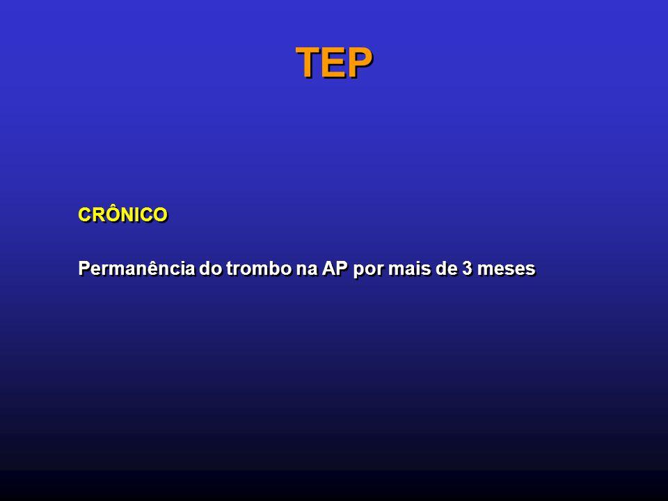 TEP CRÔNICO Permanência do trombo na AP por mais de 3 meses