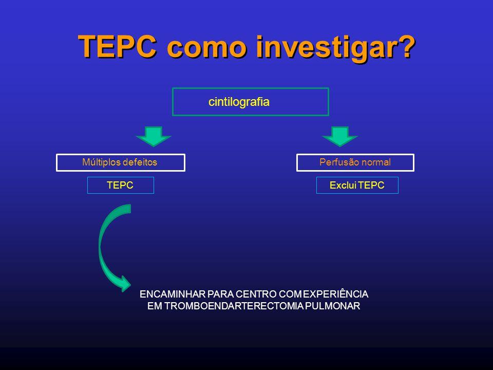 TEPC como investigar cintilografia Múltiplos defeitos Perfusão normal