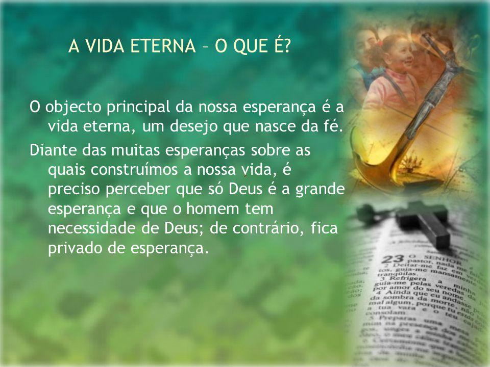 A VIDA ETERNA – O QUE É O objecto principal da nossa esperança é a vida eterna, um desejo que nasce da fé.
