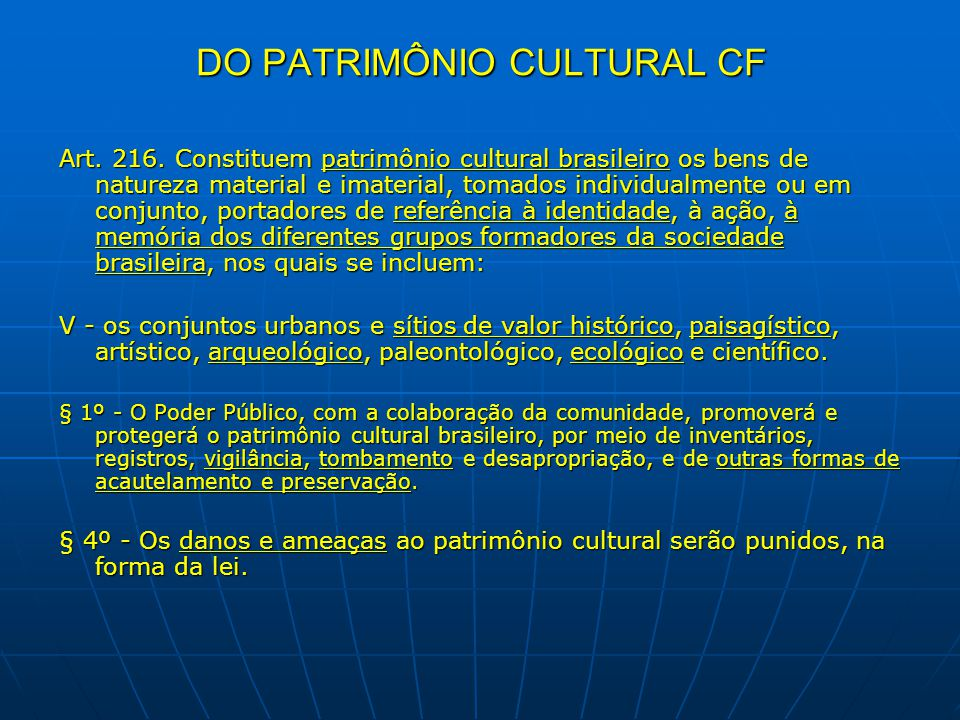 DO PATRIMÔNIO CULTURAL CF