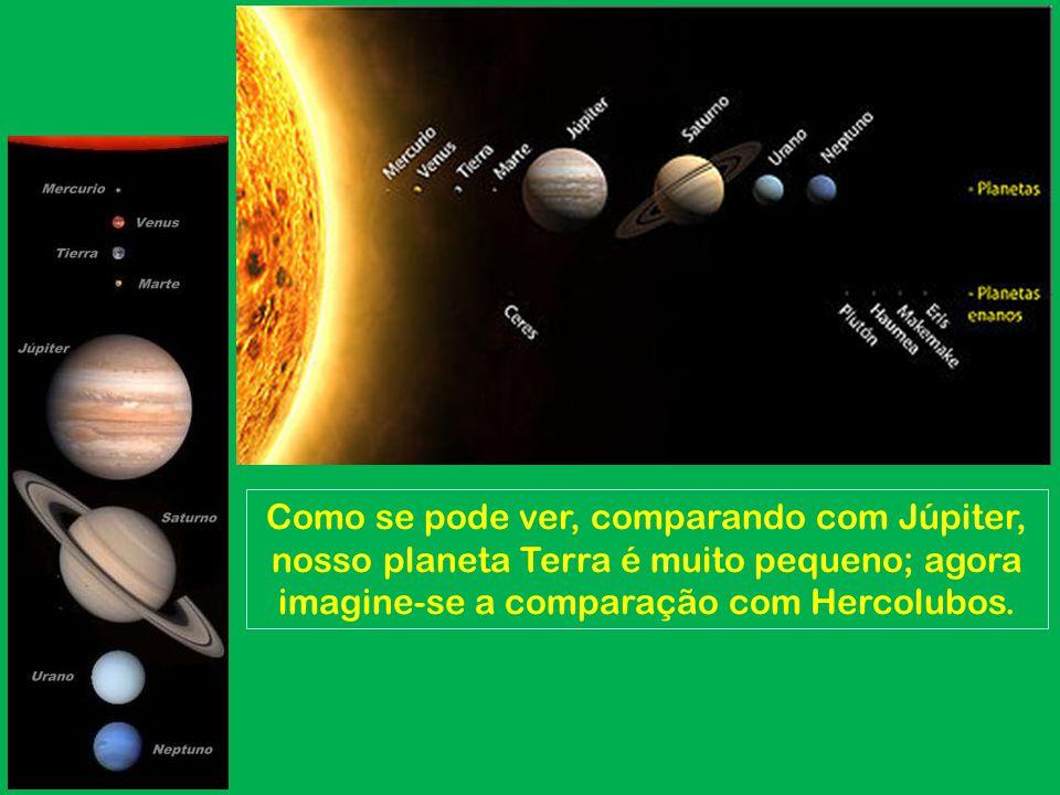 Como se pode ver, comparando com Júpiter, nosso planeta Terra é muito pequeno; agora imagine-se a comparação com Hercolubos.