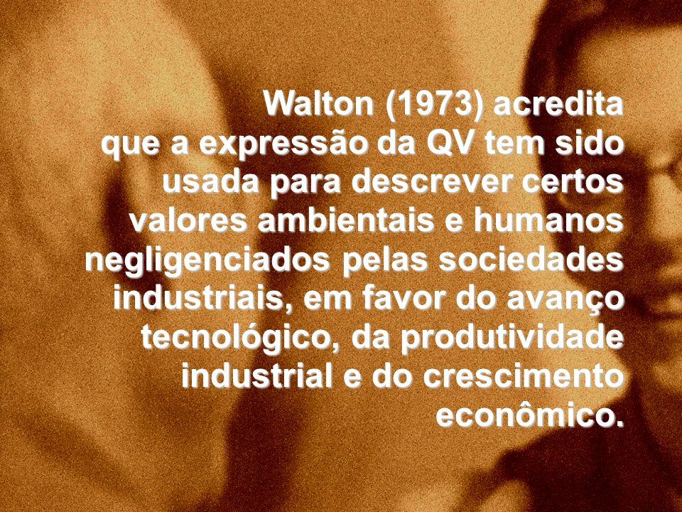 Walton (1973) acredita que a expressão da QV tem sido usada para descrever certos valores ambientais e humanos negligenciados pelas sociedades industriais, em favor do avanço tecnológico, da produtividade industrial e do crescimento econômico.