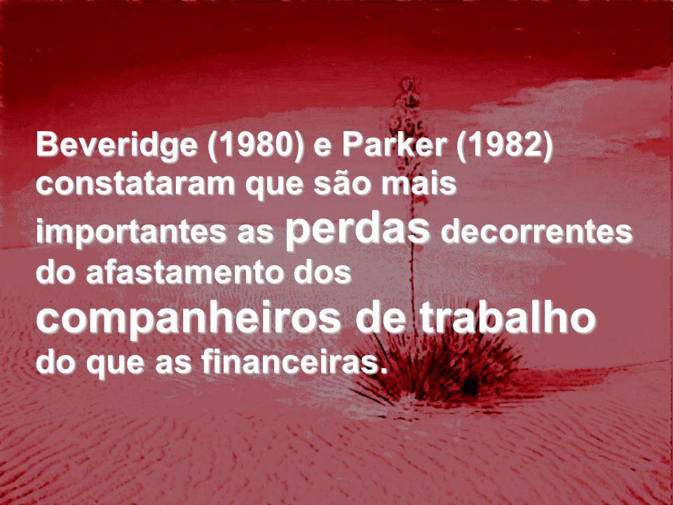 Beveridge (1980) e Parker (1982) constataram que são mais importantes as perdas decorrentes do afastamento dos companheiros de trabalho do que as financeiras.