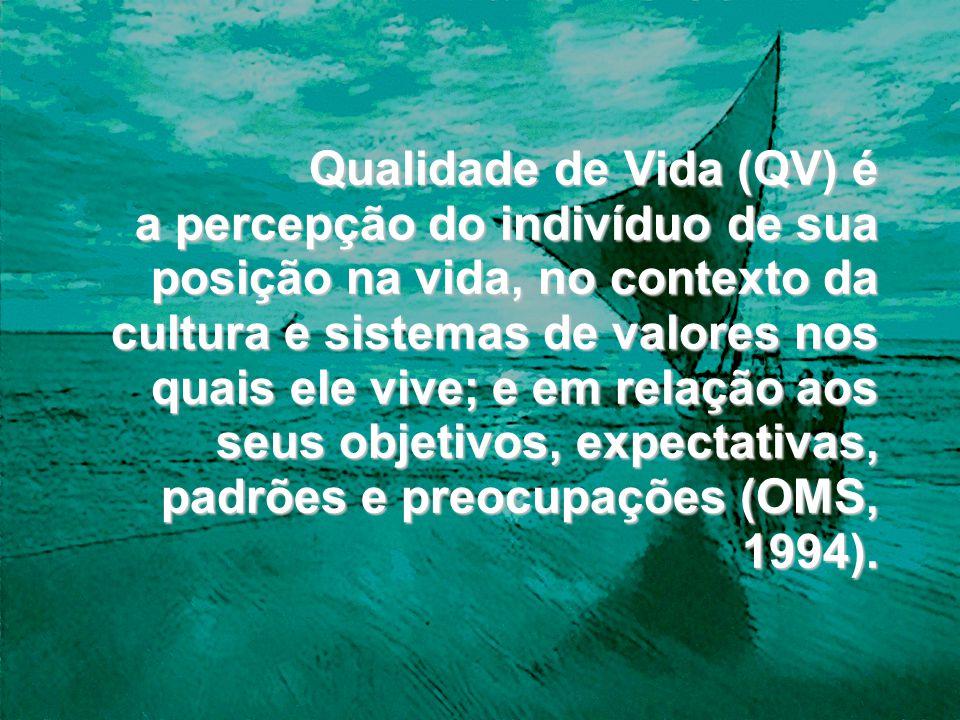 Qualidade de Vida (QV) é a percepção do indivíduo de sua posição na vida, no contexto da cultura e sistemas de valores nos quais ele vive; e em relação aos seus objetivos, expectativas, padrões e preocupações (OMS, 1994).