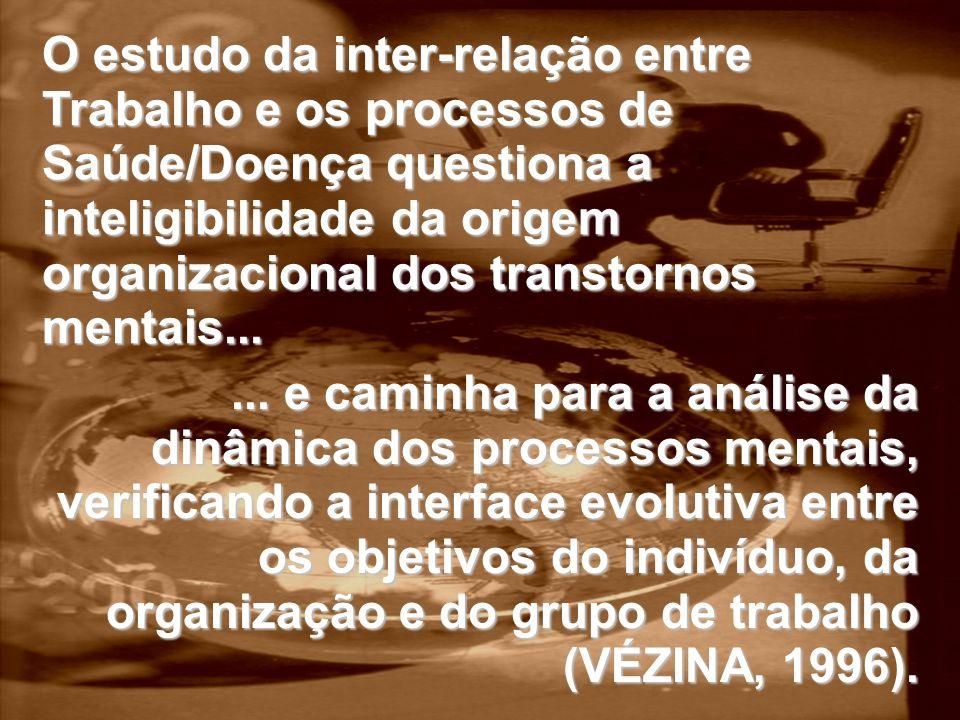 O estudo da inter-relação entre Trabalho e os processos de Saúde/Doença questiona a inteligibilidade da origem organizacional dos transtornos mentais...