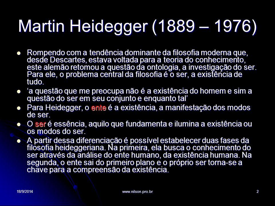 Martin Heidegger (1889 – 1976)