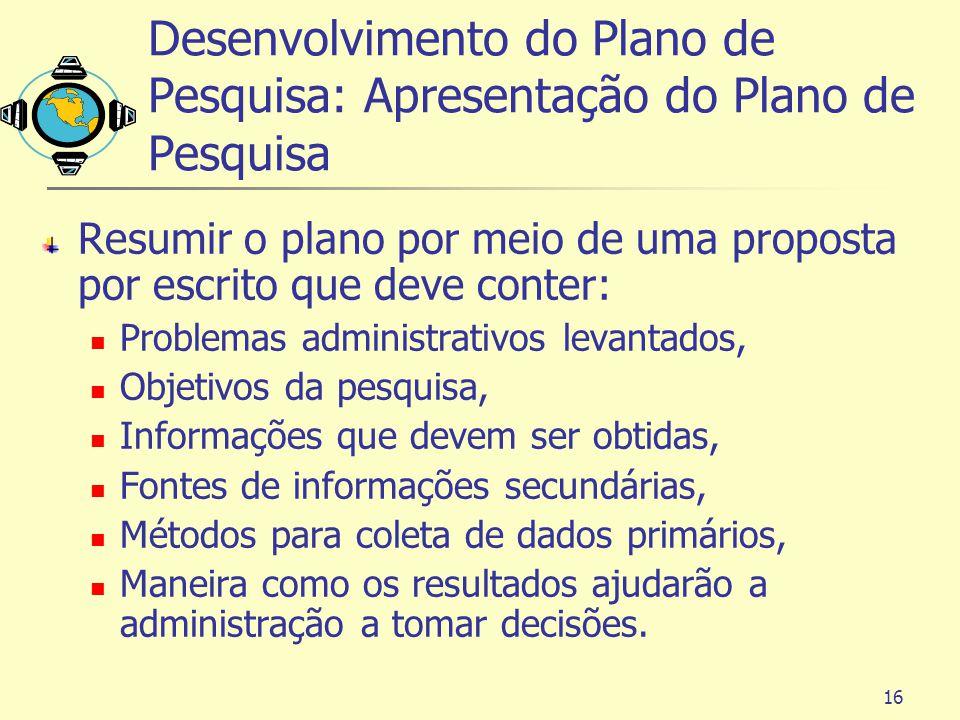 Desenvolvimento do Plano de Pesquisa: Apresentação do Plano de Pesquisa