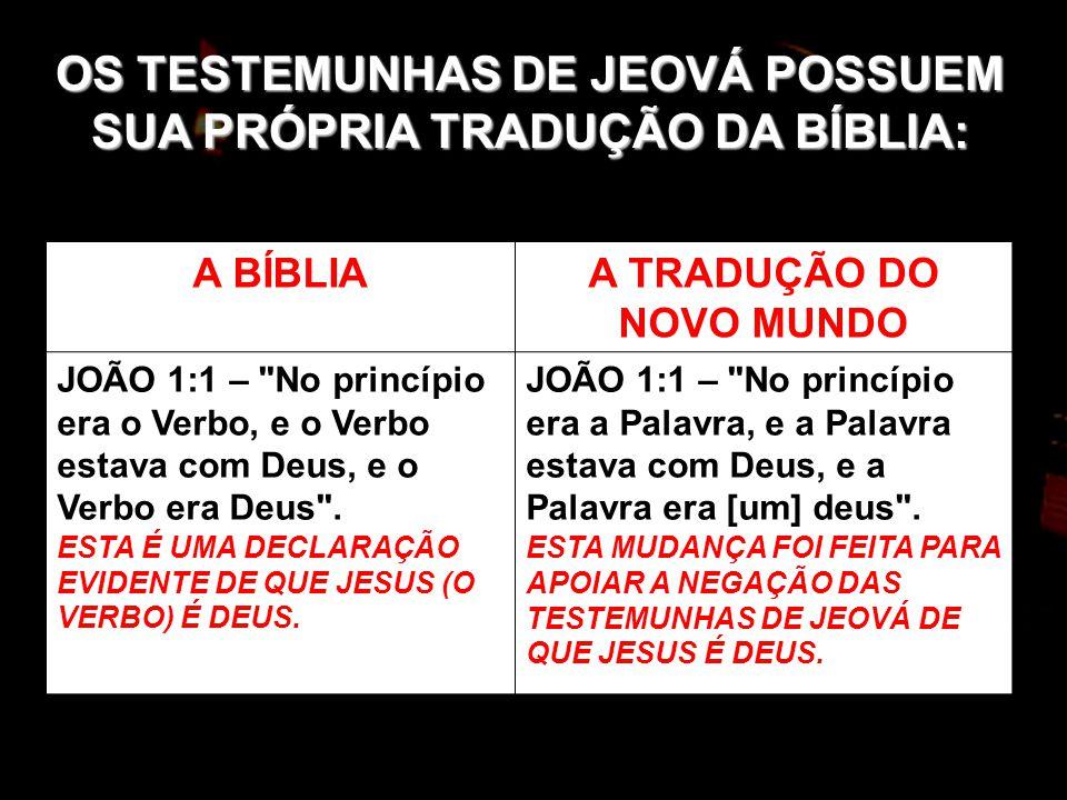 OS TESTEMUNHAS DE JEOVÁ POSSUEM SUA PRÓPRIA TRADUÇÃO DA BÍBLIA: