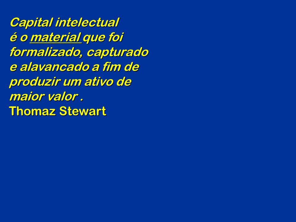 Capital intelectual é o material que foi formalizado, capturado e alavancado a fim de produzir um ativo de maior valor .