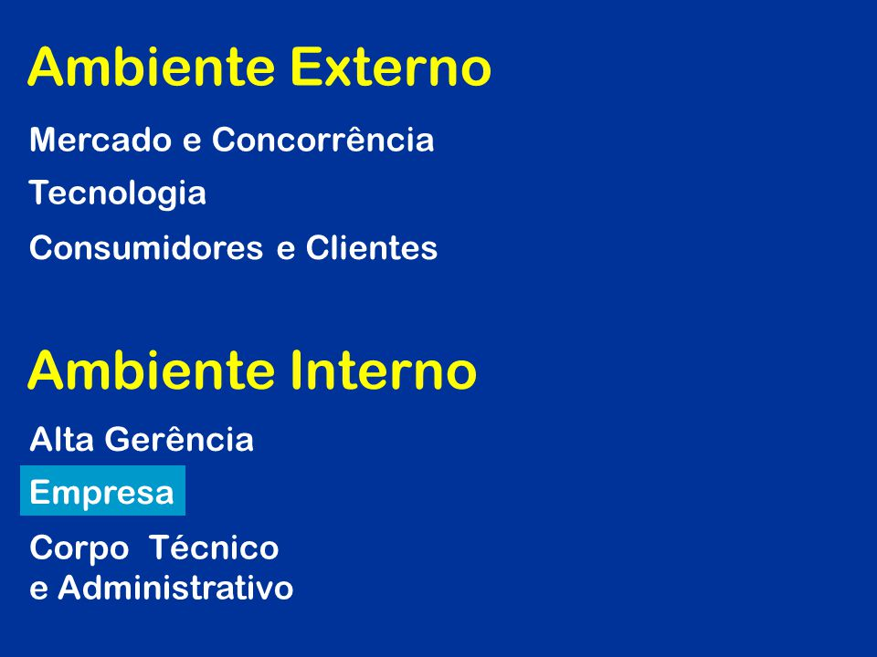 Ambiente Externo Ambiente Interno Mercado e Concorrência Tecnologia