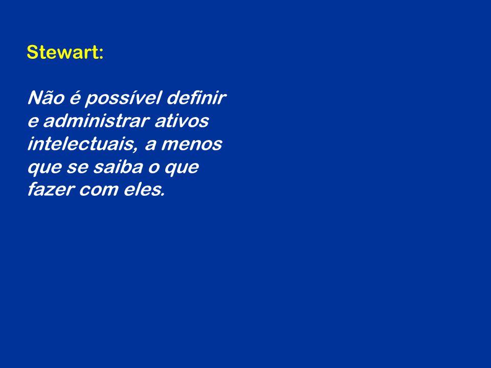 Stewart: Não é possível definir e administrar ativos intelectuais, a menos que se saiba o que fazer com eles.