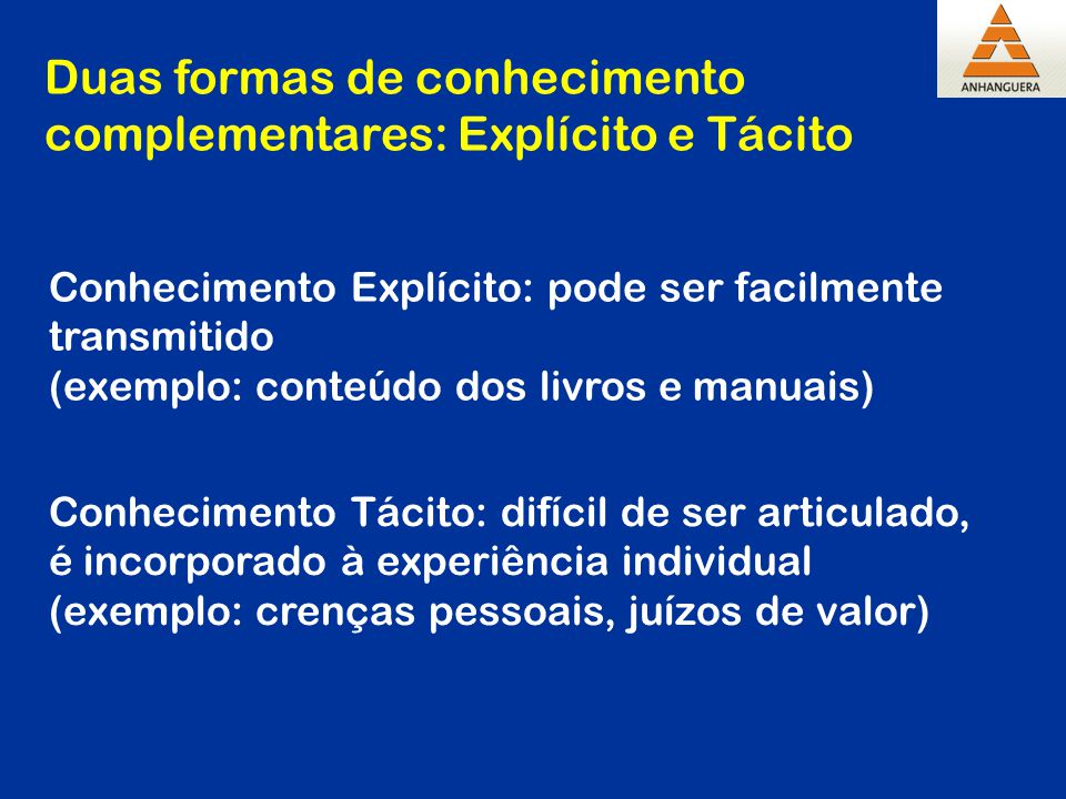 Duas formas de conhecimento complementares: Explícito e Tácito