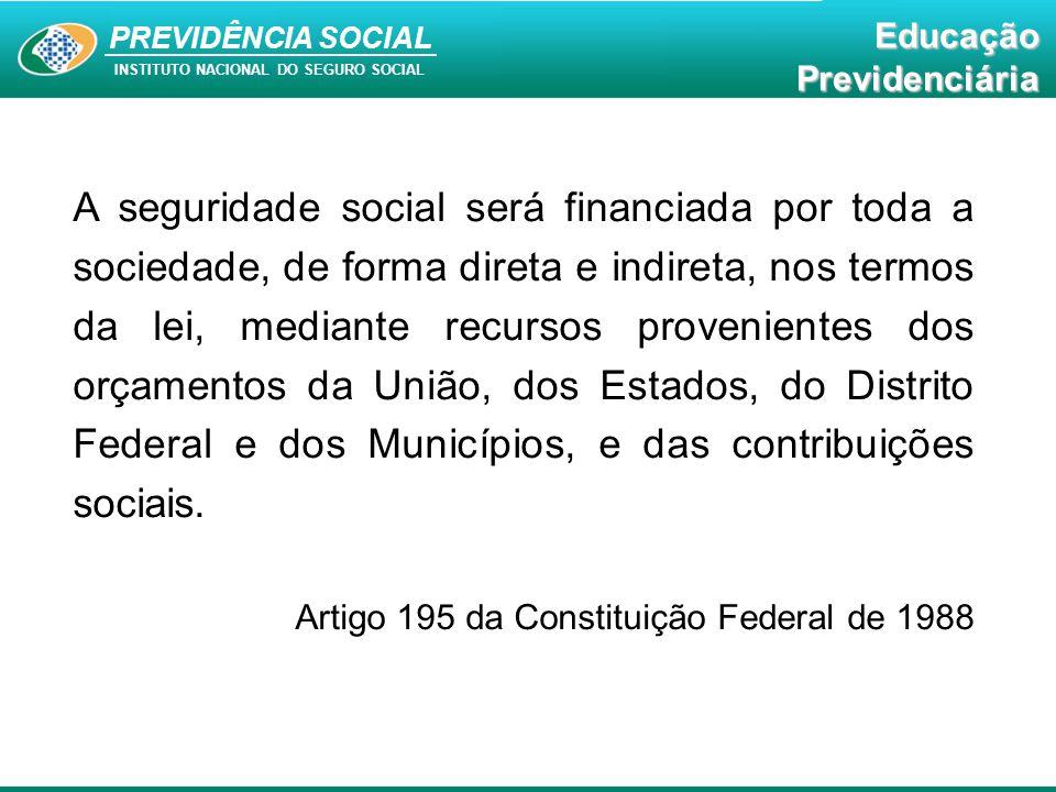 A seguridade social será financiada por toda a sociedade, de forma direta e indireta, nos termos da lei, mediante recursos provenientes dos orçamentos da União, dos Estados, do Distrito Federal e dos Municípios, e das contribuições sociais.