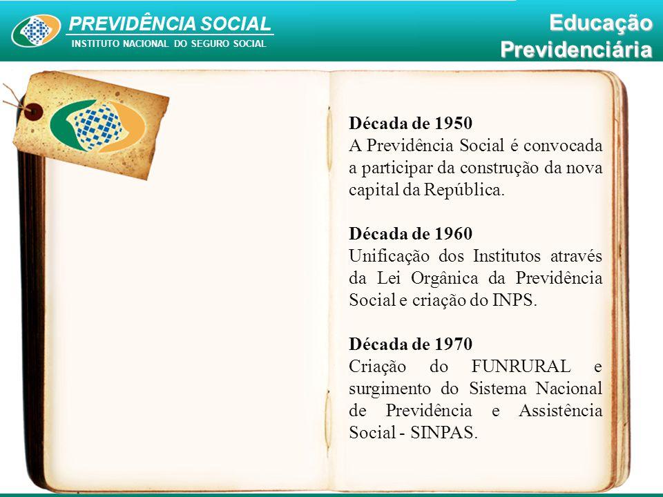 Década de 1950 A Previdência Social é convocada a participar da construção da nova capital da República.