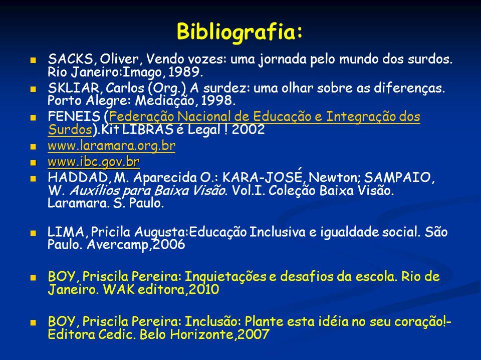 Bibliografia: SACKS, Oliver, Vendo vozes: uma jornada pelo mundo dos surdos. Rio Janeiro:Imago, 1989.
