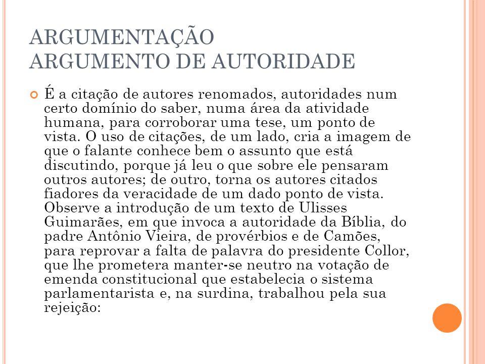 ARGUMENTAÇÃO ARGUMENTO DE AUTORIDADE