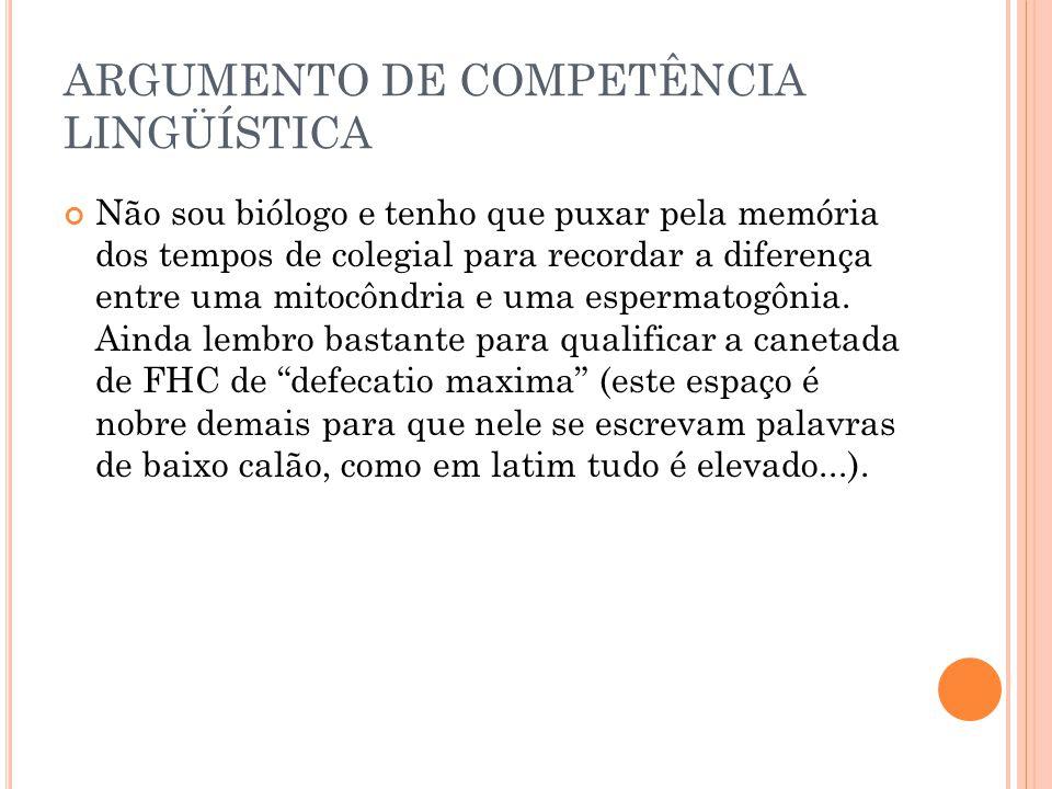ARGUMENTO DE COMPETÊNCIA LINGÜÍSTICA