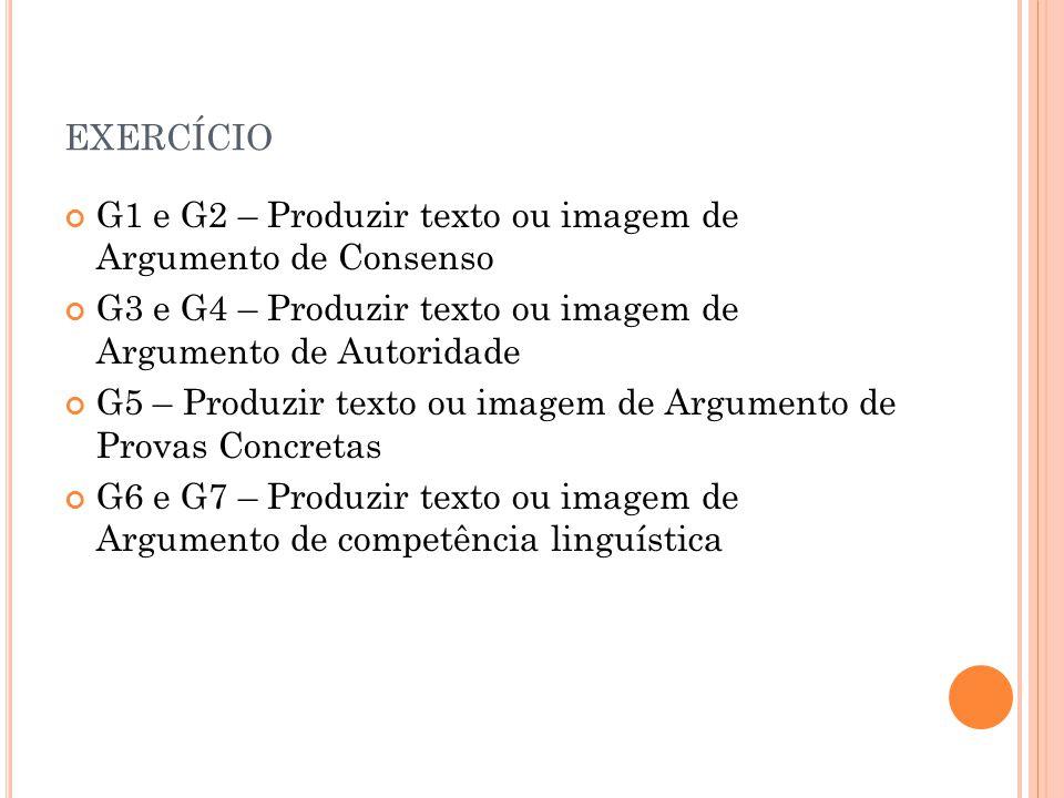 exercício G1 e G2 – Produzir texto ou imagem de Argumento de Consenso