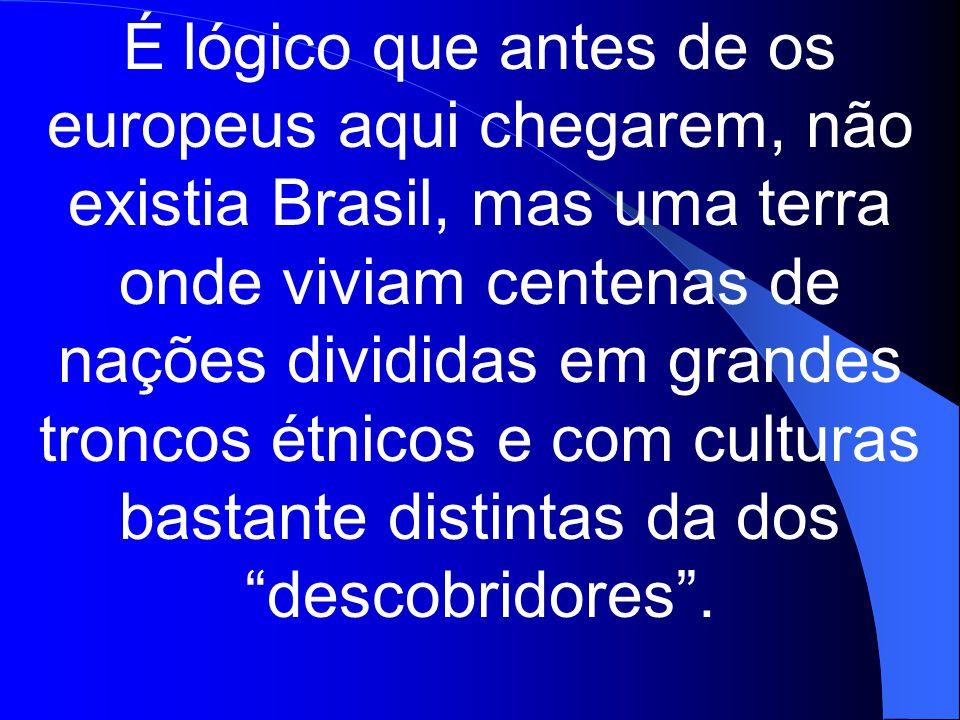 É lógico que antes de os europeus aqui chegarem, não existia Brasil, mas uma terra onde viviam centenas de nações divididas em grandes troncos étnicos e com culturas bastante distintas da dos descobridores .