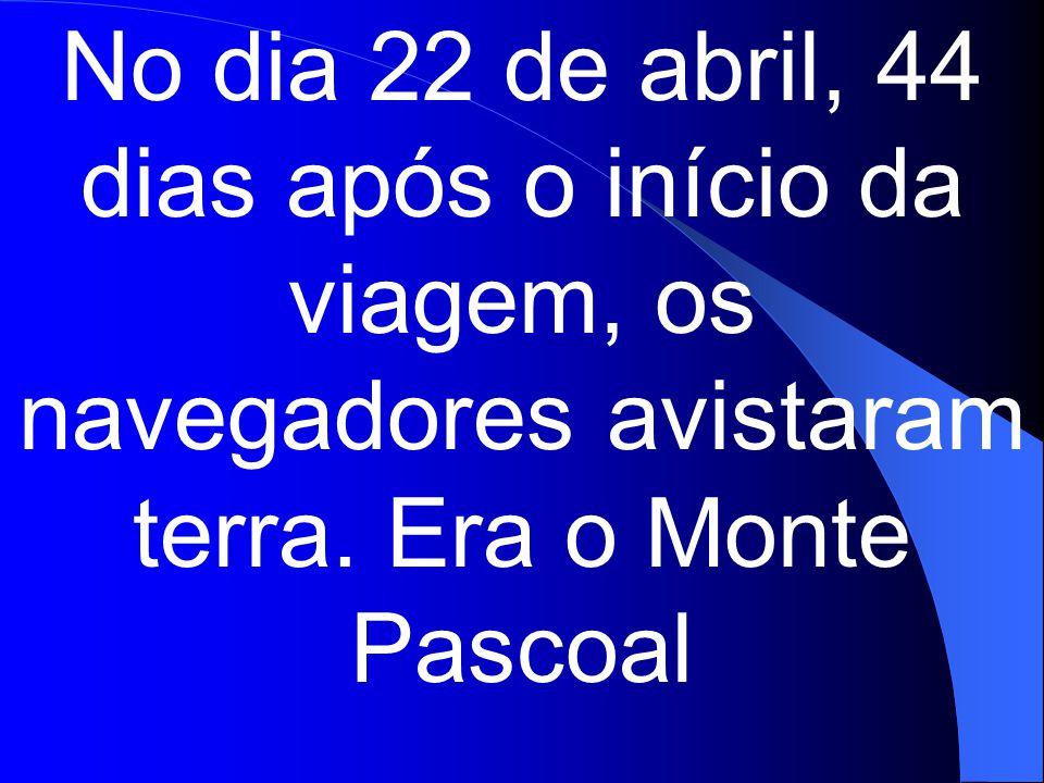 No dia 22 de abril, 44 dias após o início da viagem, os navegadores avistaram terra.