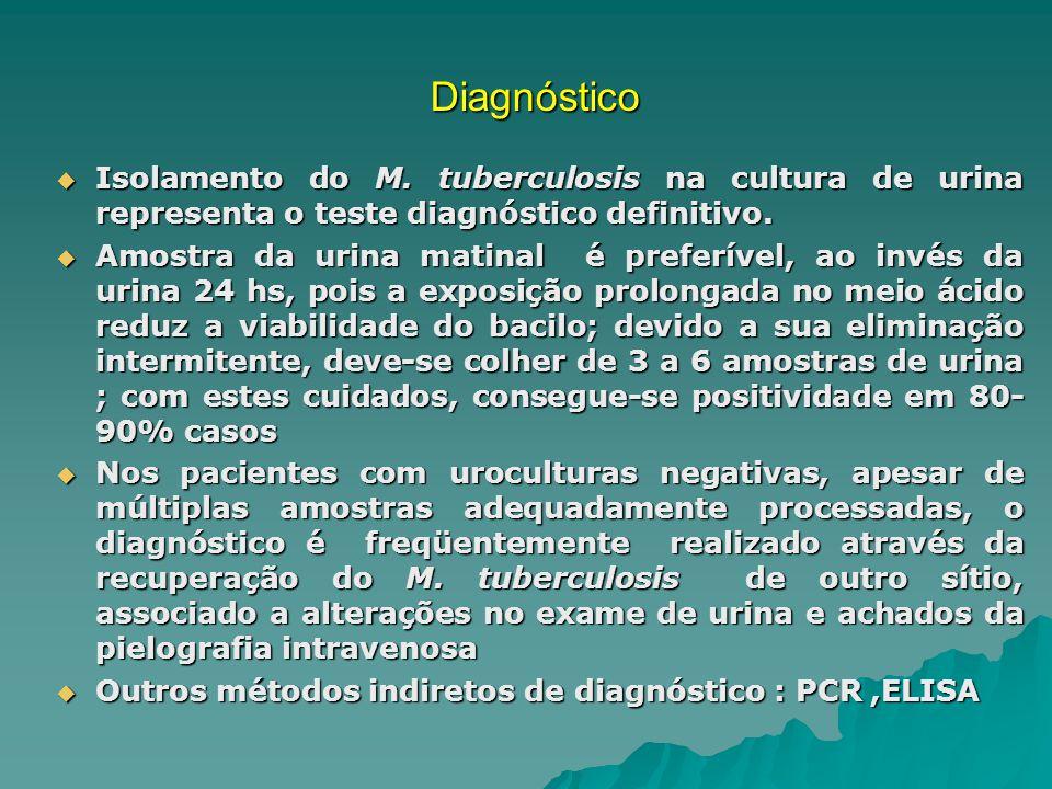 Diagnóstico Isolamento do M. tuberculosis na cultura de urina representa o teste diagnóstico definitivo.