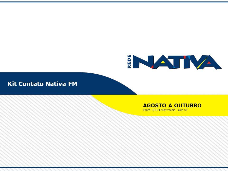 Kit Contato Nativa FM AGOSTO A OUTUBRO Fonte: IBOPE/EasyMedia - Gde SP