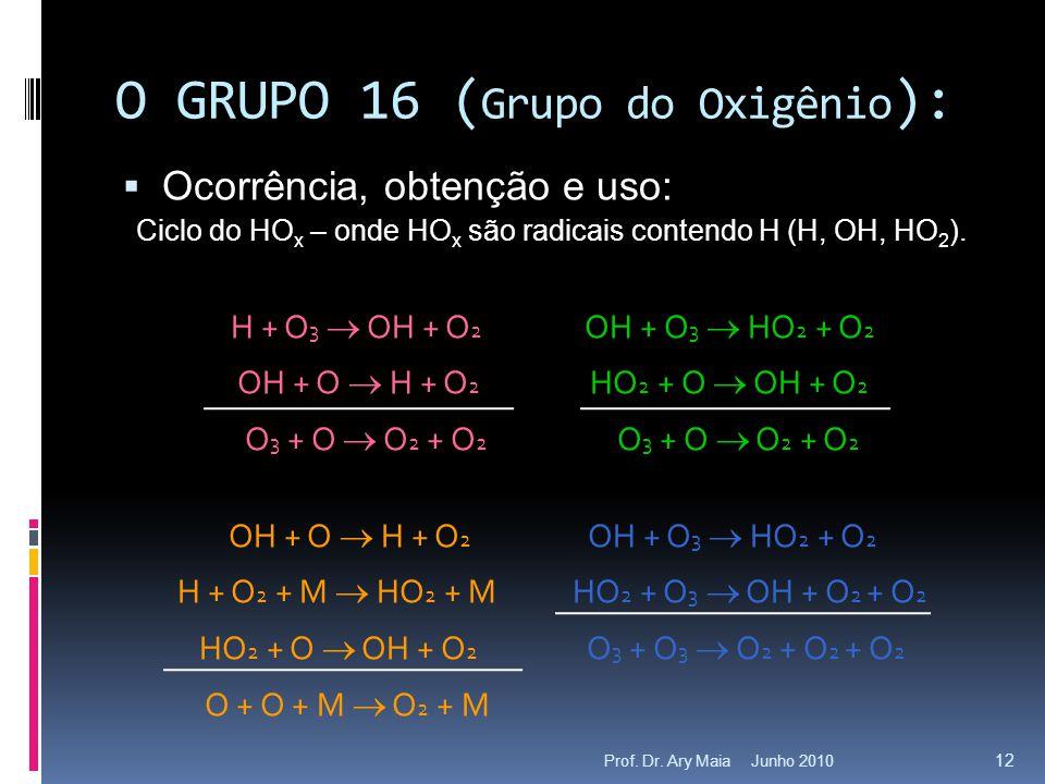 O GRUPO 16 (Grupo do Oxigênio):