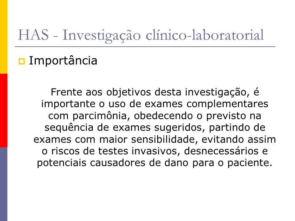 HAS - Investigação clínico-laboratorial