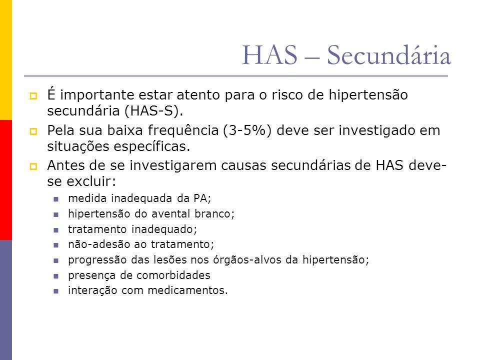 HAS – Secundária É importante estar atento para o risco de hipertensão secundária (HAS-S).