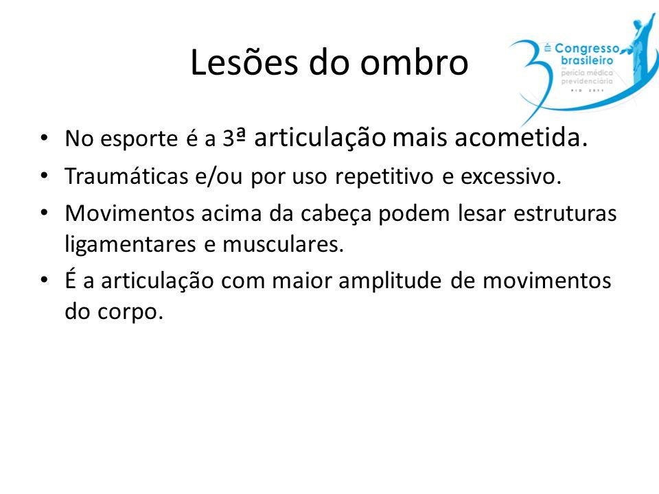 Lesões do ombro No esporte é a 3ª articulação mais acometida.