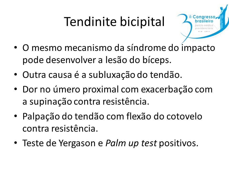 Tendinite bicipital O mesmo mecanismo da síndrome do impacto pode desenvolver a lesão do bíceps. Outra causa é a subluxação do tendão.